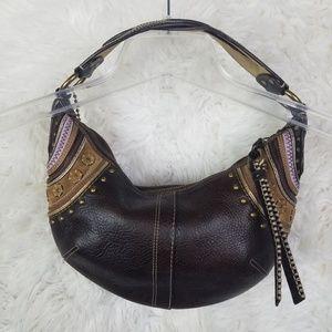 Coach Hobo Leather Suede Studded Handbag